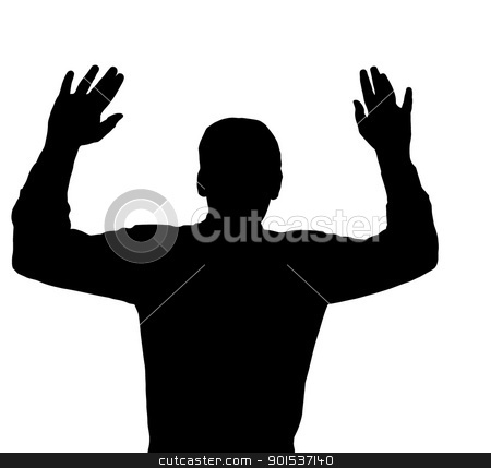 Surrendering stock vector clipart, Man surrendering with both hands raised in air by Snap2Art