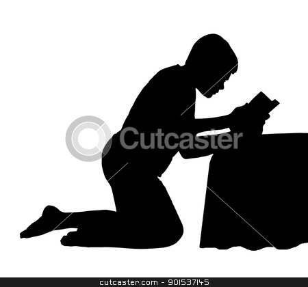 Child Reading Bible next to Bed stock vector clipart, Kneeling Child Reading his Bible next to his Bed by Snap2Art