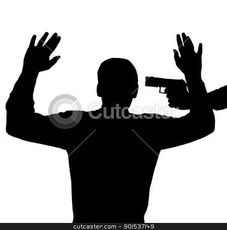 Gun against head stock vector clipart, Man surrendering with gun against his head by Snap2Art