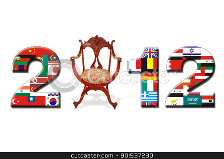 2012 New Year. stock photo, 2012 with flags and antique chair. by WScott