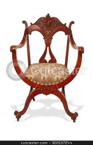 Antique Mahogany Chair. stock photo, Antique American carved mahogany chair made in the 1890's. by WScott