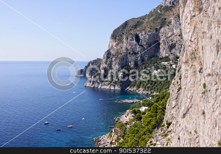 View on Capri stock photo, The coastline of the island of Capri, which is off Sorrentine peninsula in the Bay of Naples, Italy.  by Chris Hill