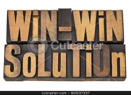 win-win solution in letterpress stock photo, win-win solution - negotiation or conflict resolution concept - isolated words in vintage wood type by Marek Uliasz