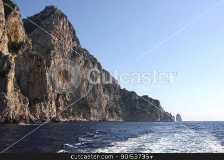 Capri Coastline stock photo, A cliff wall on the island of Capri, which is off Sorrentine peninsula in the Bay of Naples, Italy.  by Chris Hill