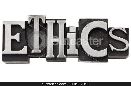 ethics word in metal type stock photo, ethics - isolated word in vintage grunge metal type by Marek Uliasz
