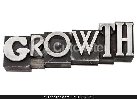 growth word in metal type stock photo, growth - development concept  - isolated word in mixed vintage metal printing blocks by Marek Uliasz