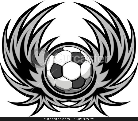 Soccer Template with Wings stock vector clipart, Graphic soccer ball image template with wings by chromaco