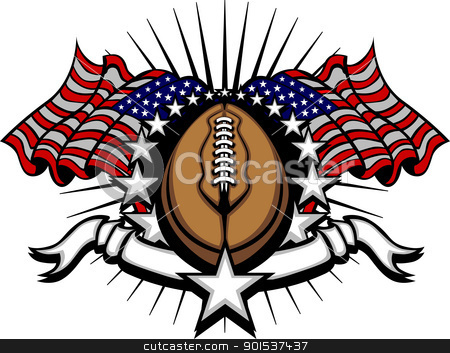 Football Template with Flags and Stars stock vector clipart, Stars and Stripes Patriotic American Football image with American Flags by chromaco