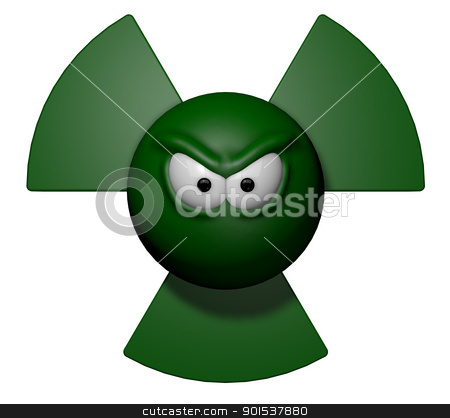 radioactive stock photo, nuclear symbol with grim comic face - 3d illustration by J?