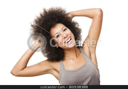 Happy woman stock photo, Happy Afro-American young woman isolated on white by ikostudio