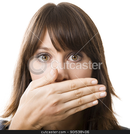 Surprised face stock photo, Beautiful young woman covering the face with her hand, isolated on a white background by ikostudio