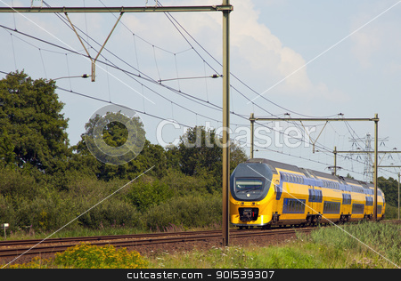 train stock photo, dutch train is a typical dutch landscape by Rob Bouwman