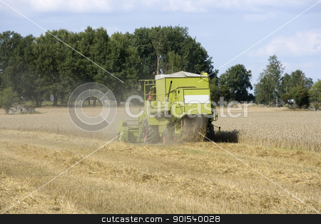 Harvesting stock photo, Harvesting the fields at the farm by Anne-Louise Quarfoth