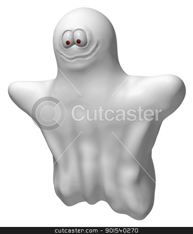 spooky stock photo, happy flying ghost - 3d illustration by J?