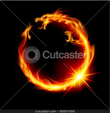 Fire Dragon stock photo, Fire Dragon. Abstract  Illustration on black background for design. by dvarg