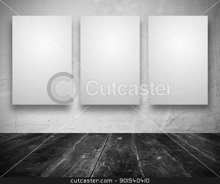 Blank banners in a old dark room stock photo, Gallery Interior with empty banners in a old white room by Imaster