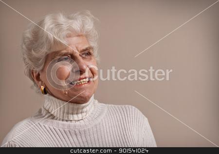 Senior lady portrait. stock photo, Senior lady portrait, smiling with copy space.  by Pablo Caridad