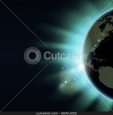 World globe eclipse sunrise concept stock vector clipart, World globe eclipse concept illustration. America side of the world showing. by Christos Georghiou
