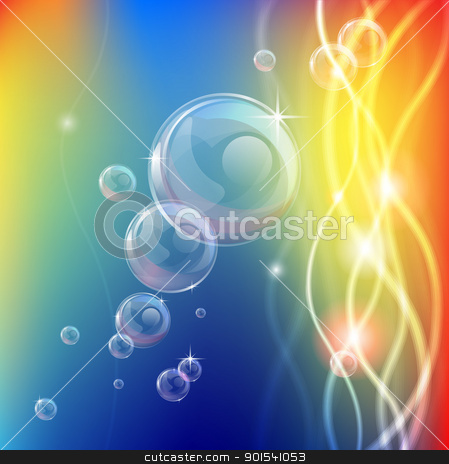 Abstract bubbles lines and lights background stock vector clipart, An abstract background or illustration with bubbles or glass balls and glowing lights or fibre optic cables by Christos Georghiou
