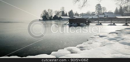 winter lake stock photo, A winter scenery at Starnberg lake in Germany by Markus Gann