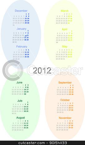 2012 year calendar stock photo, 2012 year calendar vector illustration. Winter, summer, spring and autumn by olinchuk