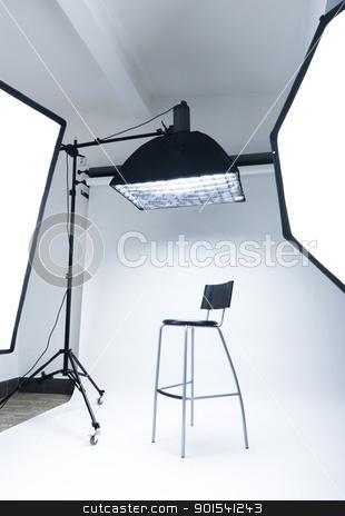 Photo studio stock photo, Photo studio setup with lighting equipment by Tiramisu Studio