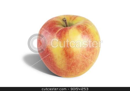 Apple stock photo, One fresh apple isolated on white background by Tiramisu Studio