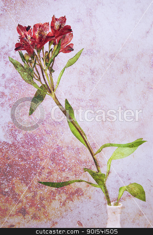 Flower in a vase background stock photo, Composition of wild flower in a vase with colorful textured background ideal for background by Tiramisu Studio