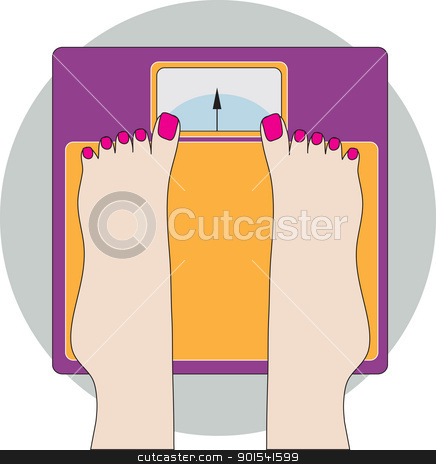 Feet on Scale stock vector clipart, An image of a lady's manicured feet, while standing on a very colorful weigh scale. by Maria Bell