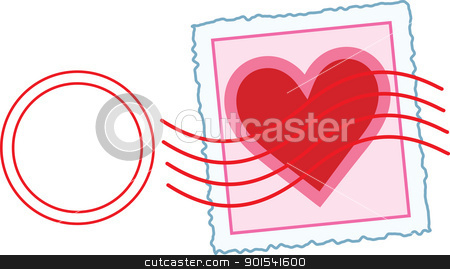 Love Letter Stamp stock vector clipart, An image of a Valentine stamp, with a postal cancellation mark over the area of the stamp. by Maria Bell