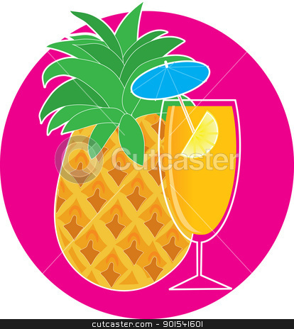 Pineapple Cocktail stock vector clipart, A pineapple with a green top, is on a cyan background. In the foreground, there is a pineapple cocktail in a tall stemmed glass, with a lemon wedge and tiny blue umbrella. by Maria Bell