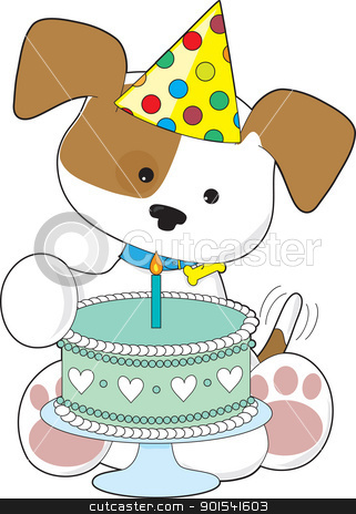 Puppy Birthday Cake stock vector clipart, A cute little puppy wearing a party hat, wags his tail in excitement over a birthday cake with a single candle. by Maria Bell