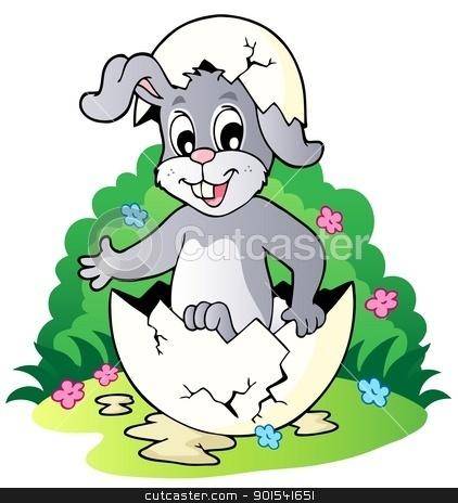Easter bunny theme image 2 stock vector clipart, Easter bunny theme image 2 - vector illustration. by Klara Viskova