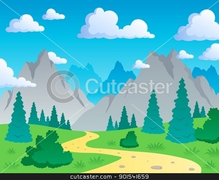 Mountain theme landscape 1 stock vector clipart, Mountain theme landscape 1 - vector illustration. by Klara Viskova