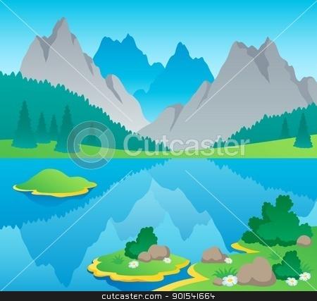 Mountain theme landscape 6 stock vector clipart, Mountain theme landscape 6 - vector illustration. by Klara Viskova