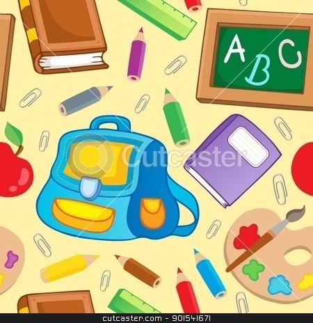 School theme seamless background 1 stock vector clipart, School theme seamless background 1 - vector illustration. by Klara Viskova