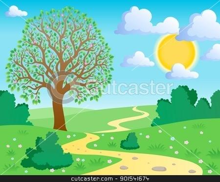 Spring theme landscape 1 stock vector clipart, Spring theme landscape 1 - vector illustration. by Klara Viskova