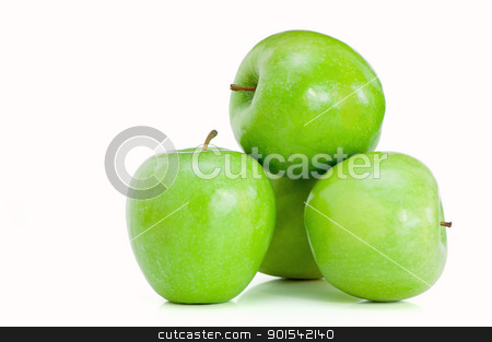 Few green apples stock photo, Few green apples isolated on the white background by Malgin