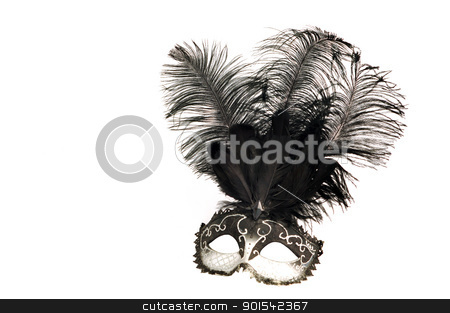 black and white venetian mask stock photo, black and white venetian mask with feathers on white background by Tudor Antonel adrian