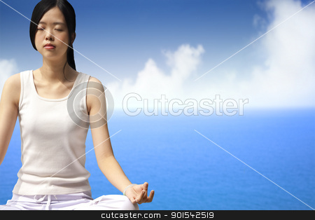 yoga woman with blue ocean background stock photo, yoga woman with blue ocean background by tomwang