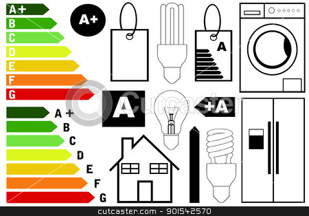 Energy efficiency elements stock vector clipart, Energy efficiency elements isolated on white by Ioana Martalogu