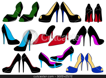 Illustration of different shoes stock vector clipart, Illustration of different shoes isolated on white by Ioana Martalogu