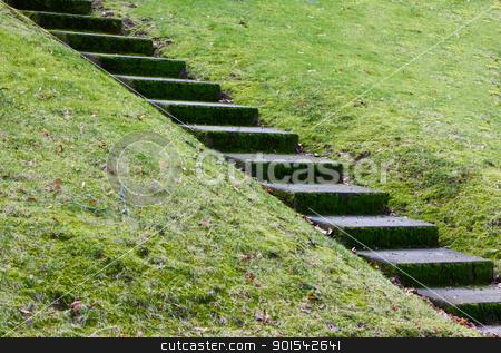 Diagonal concrete steps stock photo, Diagonal concrete steps across a hill of grass by bobkeenan