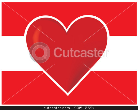 Heart Austria Flag stock vector clipart, An image of the Austrian flag, with a big red heart at the centre. by Maria Bell