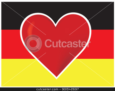 Heart Germany Flag stock vector clipart, An image of the German flag, with a big red heart at the centre. by Maria Bell