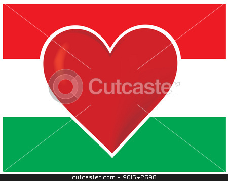 Heart Hungary Flag stock vector clipart, An image of the Hungarian flag, with a big red heart at the centre. by Maria Bell