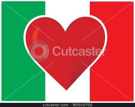Heart Italy Flag stock vector clipart, An image of the Italian flag, with a big red heart at the centre. by Maria Bell