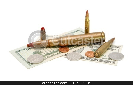 American banknotes, coins and tracer cartridges on white background stock photo, American banknotes, coins and tracer cartridges on white background by Shlomo Polonsky