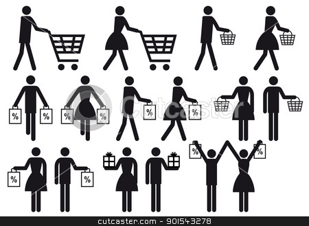 shopping people, vector icon set stock vector clipart, people with shopping cart and bag, vector icon set by Beata Kraus