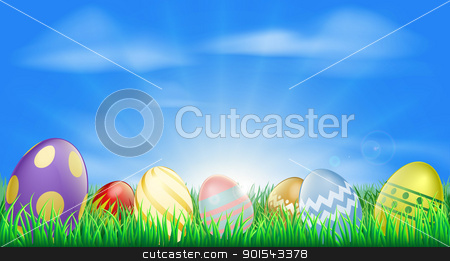 Bright Easter eggs background stock vector clipart, Bright Easter eggs background with pretty decorated Easter eggs in the grass by Christos Georghiou